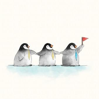 Trois pingouins mignons avec un drapeau