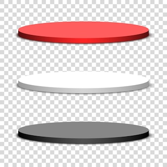 Trois podiums ronds sur fond transparent. illustration.