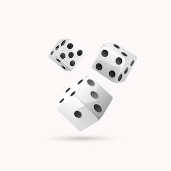 Trois dés avec des points noirs isolés sur blanc