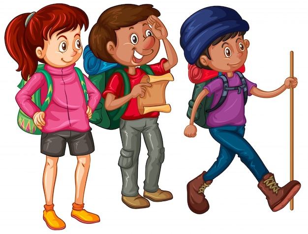 Trois randonneurs avec sacs à dos et carte