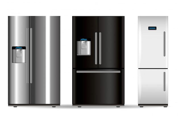 Trois réfrigérateurs de vecteur