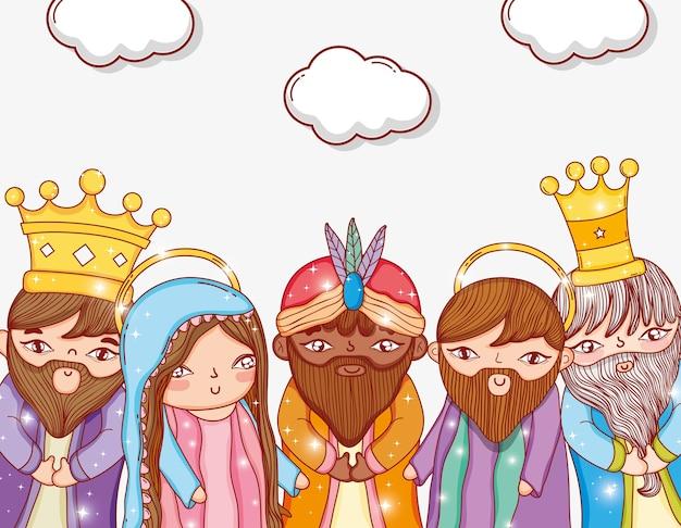 Trois rois avec joseph et mary avec des nuages