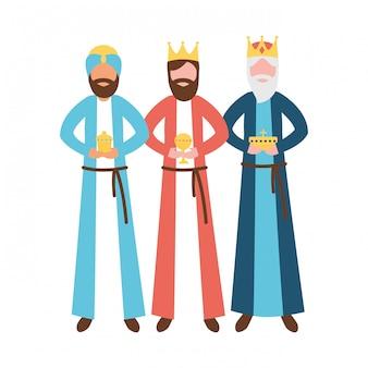 Trois rois mages avec épiphanie cadeau