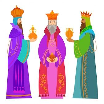 Les trois rois d'orient carte de noël