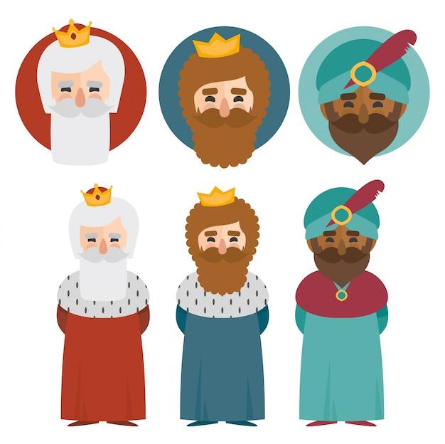 Les trois rois d'orient isolés. 3 mages jeu de vecteur d'icônes