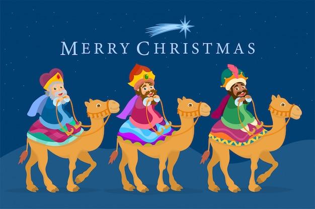 Trois rois sages montés sur des chameaux