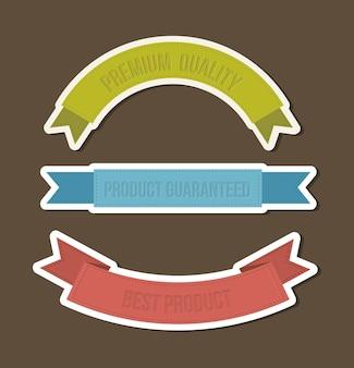 Trois rubans sur illustration vectorielle fond marron