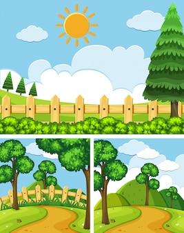 Trois scènes avec des champs et des sentiers