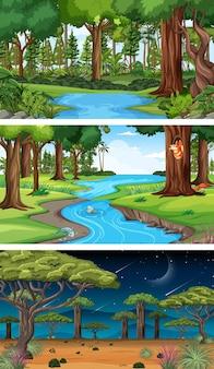 Trois scènes horizontales de nature différente