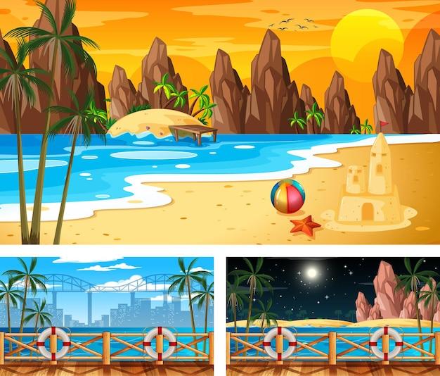 Trois scènes de paysage de plage différentes