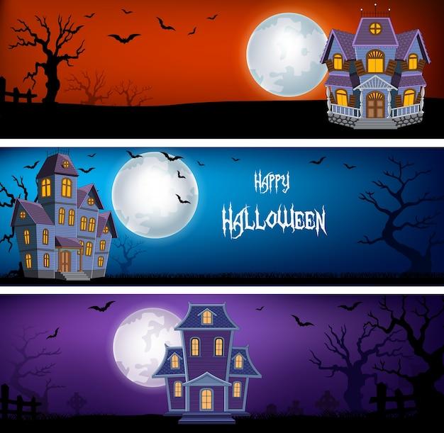Trois séries de bannières d'halloween