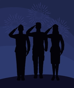 Trois silhouettes militaires saluantes