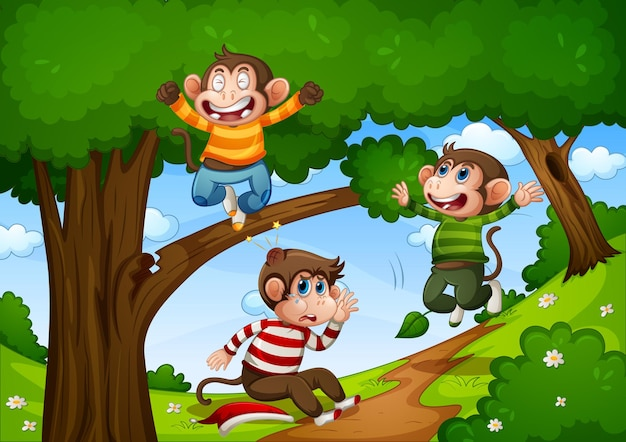 Trois singes sautant dans la scène de la jungle