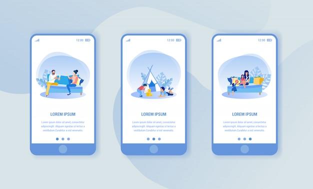 Trois smartphones avec présentation d'application