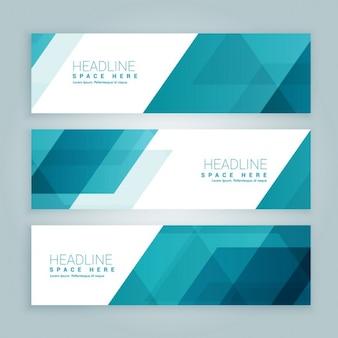 Trois styles d'affaires ensemble de bannières web en couleur bleue