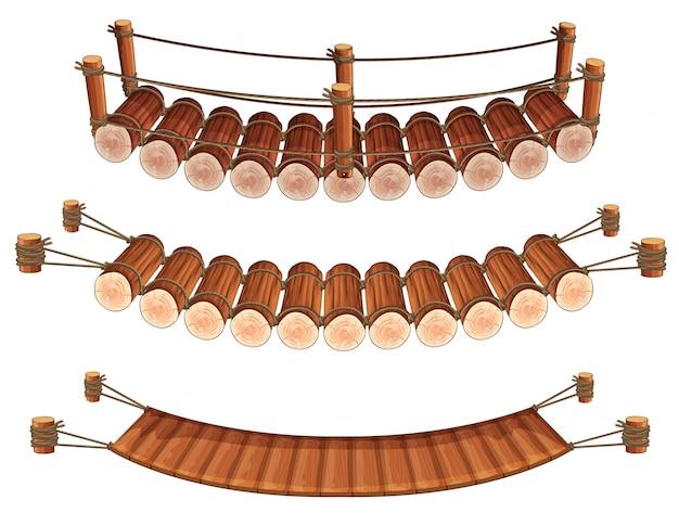 Trois styles d'illustration des ponts en bois