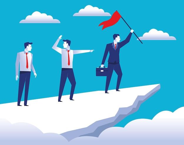 Trois travailleurs élégants d'hommes d'affaires dans la montagne supérieure avec illustration de drapeau de succès
