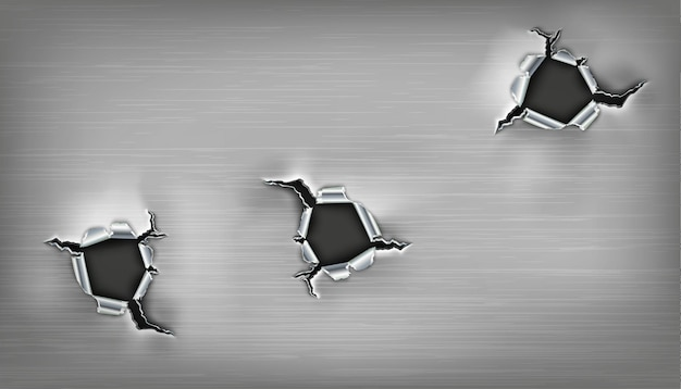 Trois trous déchiquetés dans le métal