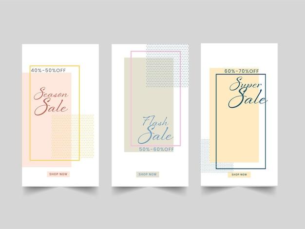 Trois types de modèle de vente ou de conception de poste avec la meilleure offre de remise pour la publicité.