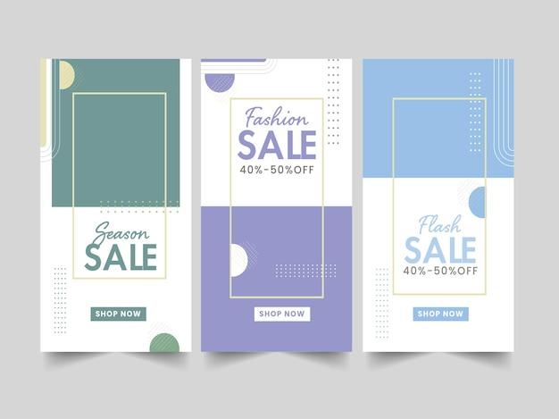 Trois types de modèle de vente ou de mise en page de bannière verticale avec une offre de remise de 40 à 50 % pour le concept publicitaire.