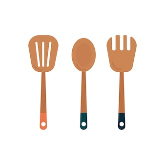 Trois ustensiles de cuisine en bois graphique