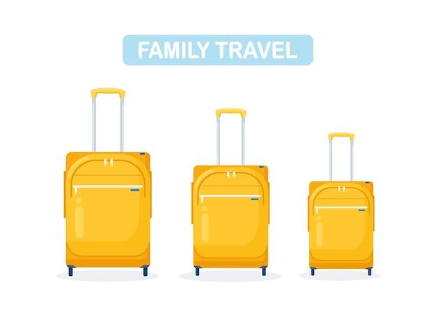 Trois valises modernes jaunes. bagages pour famille en vacances.