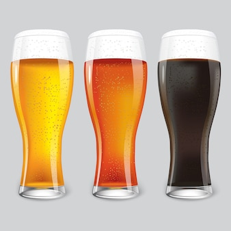 Trois verres de bière différente.