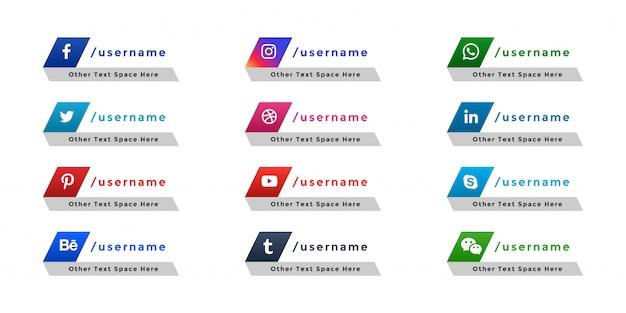 Troisième bannière inférieure d'icônes de médias sociaux populaires