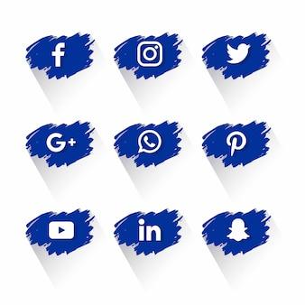 Troisième collection de médias sociaux avec des éclaboussures de peinture vecteur libre