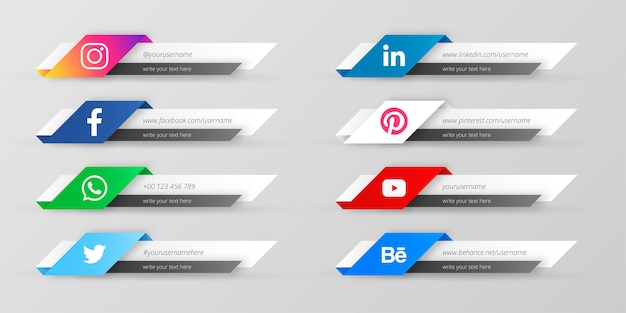 Troisième collection de médias sociaux modernes