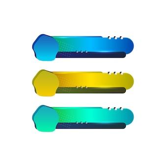 Troisième modèle de conception coloré inférieur moderne contemporain ensemble de bannières diffusion sur écran de barre