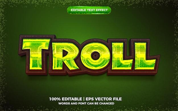 Troll audacieux jeu de dessin animé effet de texte modifiable style de modèle 3d