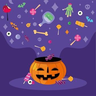 Tromper ou traiter des bonbons sur la conception de la citrouille, thème effrayant d'halloween