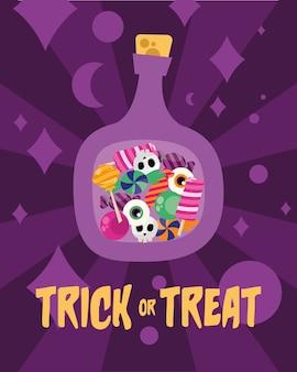 Tromper ou traiter les bonbons à l'intérieur de la conception de la bouteille, thème effrayant d'halloween