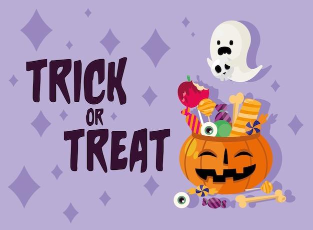 Tromper ou traiter des bonbons à l'intérieur de la conception de citrouille et de fantôme, thème effrayant d'halloween