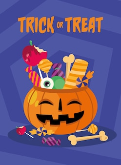 Tromper ou traiter des bonbons à l'intérieur de la conception de la citrouille, thème effrayant d'halloween