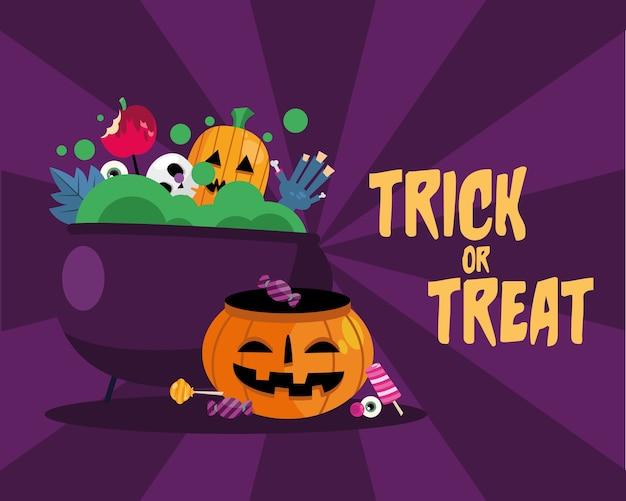 Tromper ou traiter les bonbons à l'intérieur du bol de sorcière et de la conception de citrouille, thème effrayant d'halloween