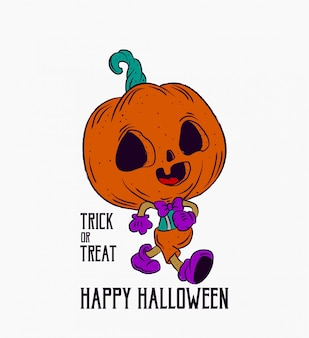 Tromper ou traiter illustration de caractère halloween