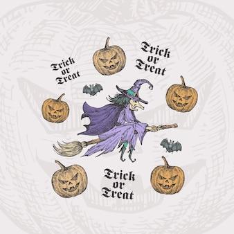 Tromper ou traiter la sorcière dessinée à la main d'halloween sur un balai et des citrouilles avec un croquis de chauves-souris