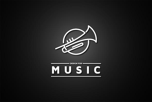 Trompette circulaire pour jazz music concert show logo design vector