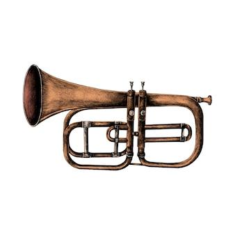 Trompette dessiné main isolé sur fond blanc