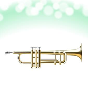 Trompette d'or isolée avec des lumières bokeh