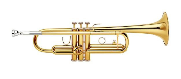 Trompette réaliste d'or isolé sur fond blanc