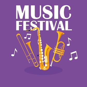 Trompettes et instruments de musique de saxophone