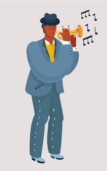 Trompettiste avec une trompette se tient