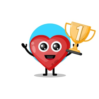 Trophée d'amour mascotte de personnage mignon