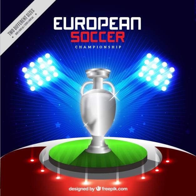 Trophée argent européen fond de football