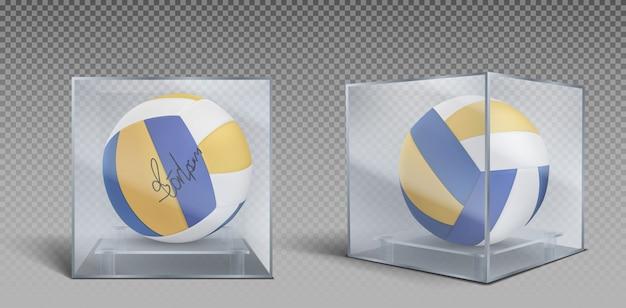 Trophée de balles de volleyball dans un coffret en verre ou en plastique