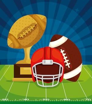 Trophée avec ballon et casque dans le terrain de football américain
