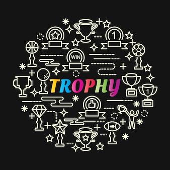 Trophée coloré dégradé avec jeu d'icônes de ligne